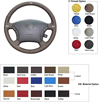 FOR LAND ROVER DISCOVERY 2 99-04 BLACK REAL LEATHER STEERING WHEEL COVER BEIGE