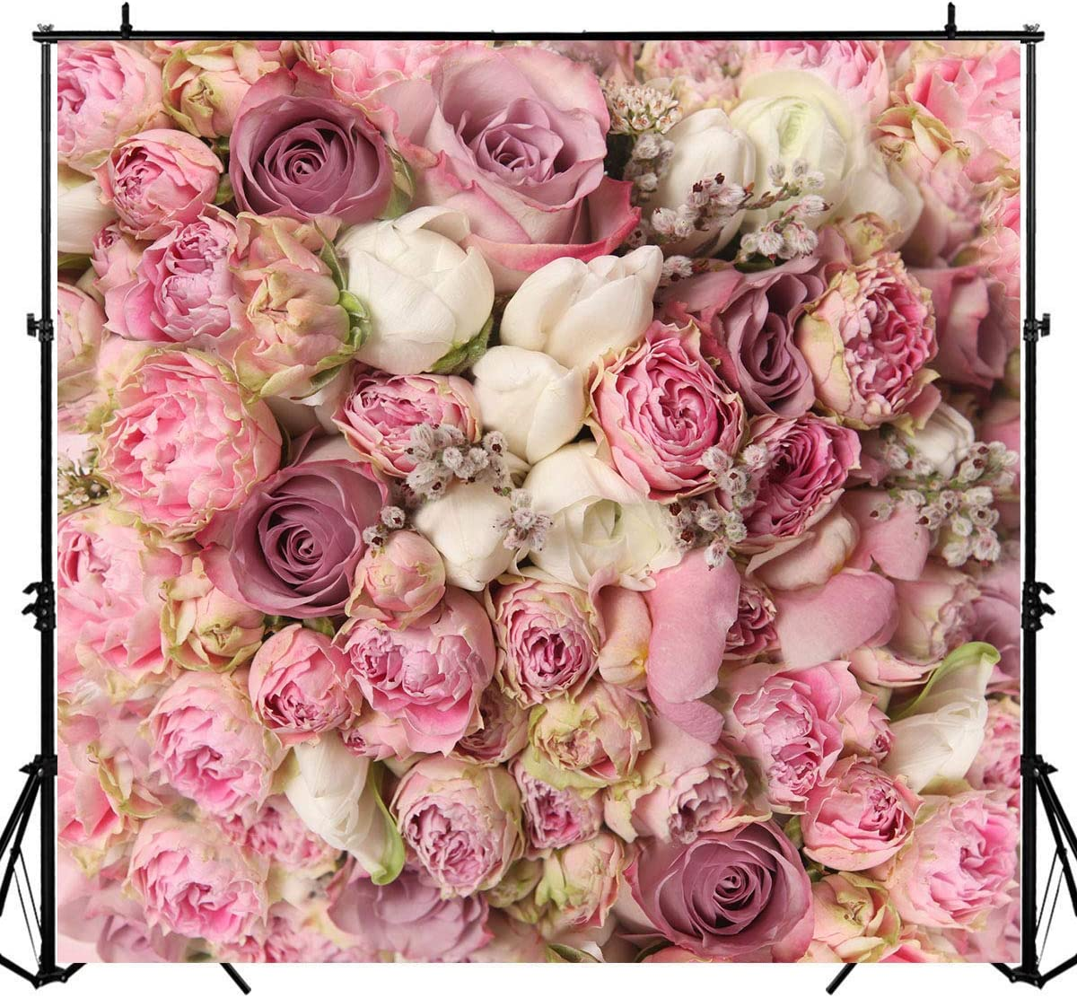 8x12 FT Flowers Vinyl Photography Backdrop,Bridal Bouquets Pattern with Roses and Freesia Romantic Victorian Composition Background for Baby Birthday Party Wedding Graduation Home Decoration