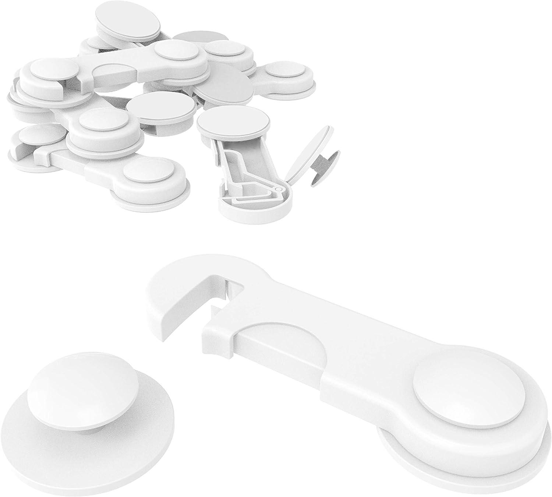 10cerraduras de seguridad para niños de Canwn, para cajones y armarios, con pegamento fuerte (no se necesita taladrar) en blanco