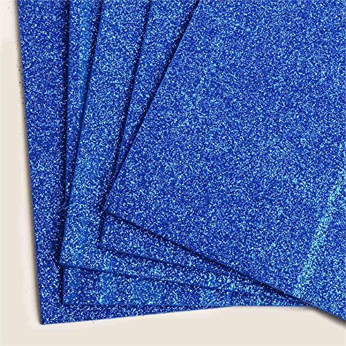 BalsaCircle 10 pcs 9.5-Inch x 12-Inch Royal Blue Glittered Top Foam Sheets for Crafts DIY Kids Art Wedding Party Home Decorations