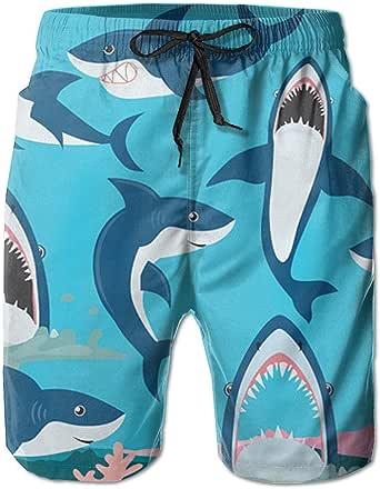 Amazon.com: Ruin Beach Shorts Shark.PNG Men's Fashion ... |Shark Board Shorts For Men