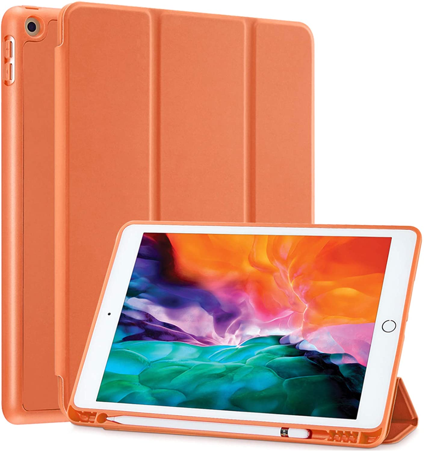 SIWENGDE Compatible for Apple iPad 9.7 Case 2018 iPad 6th Generation Cases/2017 iPad 5th Generation Case with Pencil Holder,Slim Soft Silicone Smart Trifold Stand Protective Cover (Orange)