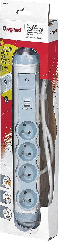 Legrand LEG50390 Rallonge multiprise 4 prises 2 p/ôles avec terre//2 chargeurs USB//cordon de 1,5 m Blanc//Gris