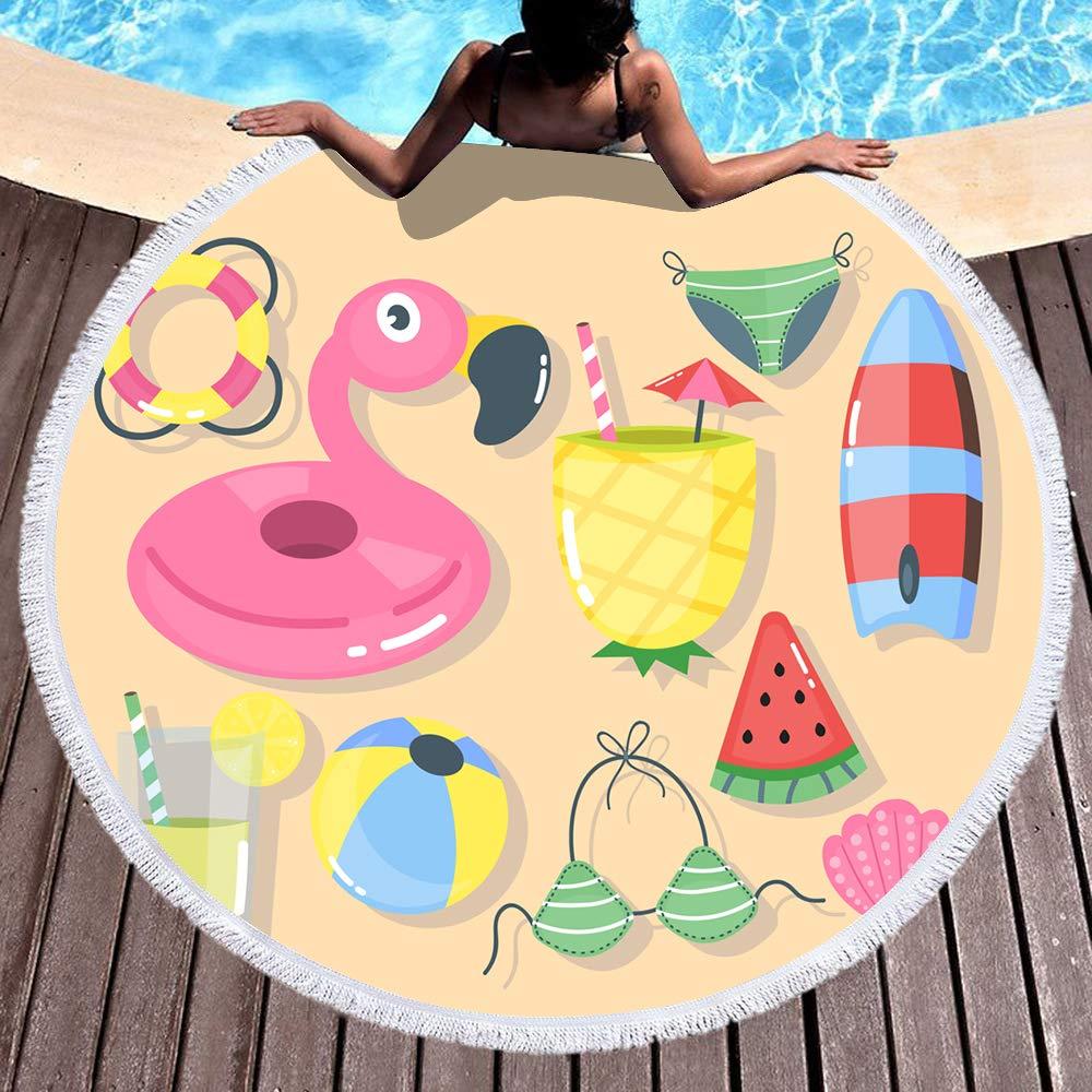 S/ábanas para Tomar el Sol Binwee Toalla de Playa Redonda Toalla de Playa Ligera de Fibra con Borla Envoltura Mant/ón para Nadar para Vacaciones Picnic 001 Estera de Yoga para la Playa Viajes