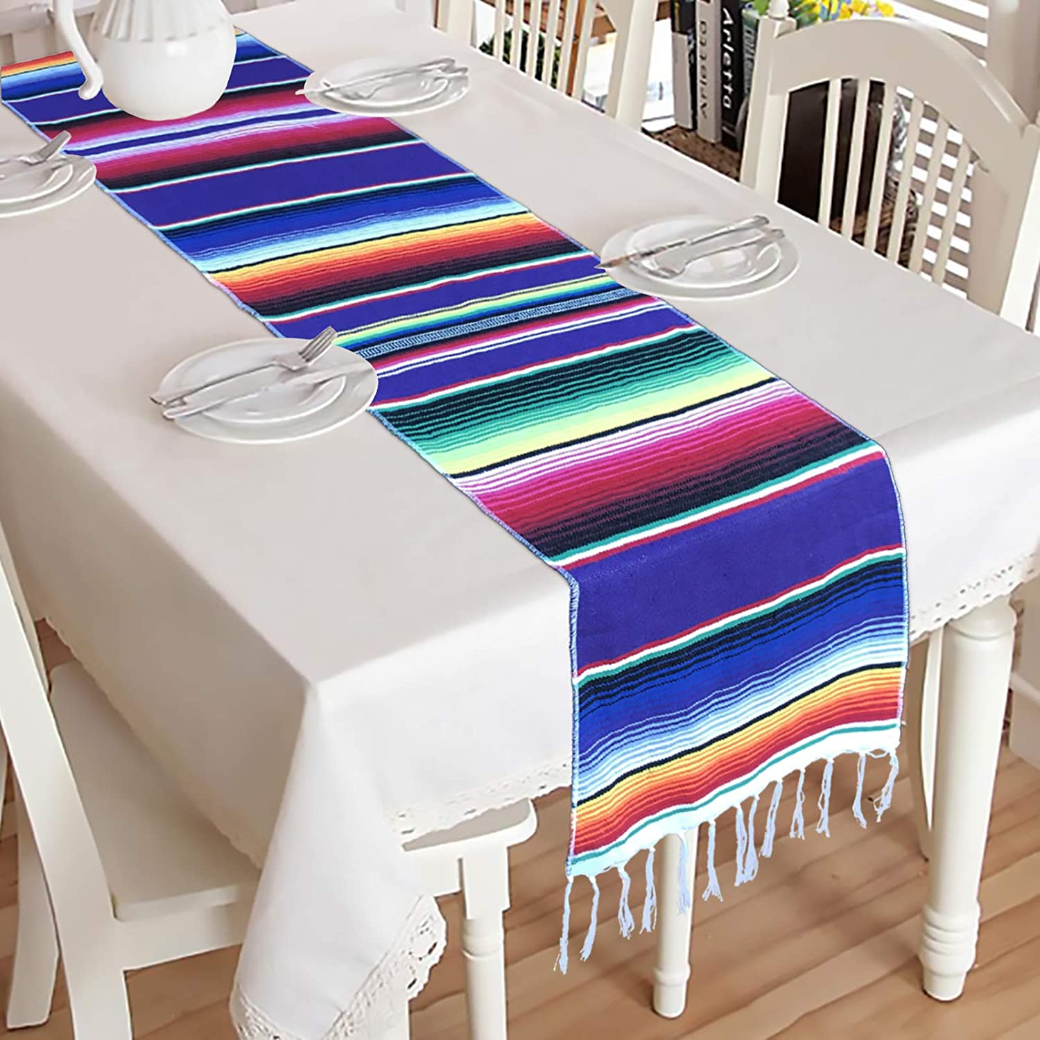 Mulbozy 14 x 84 inch Fringe Cotton Mexican Table Runner for Party Wedding Decorations Holiday Dinner Mexican Decor