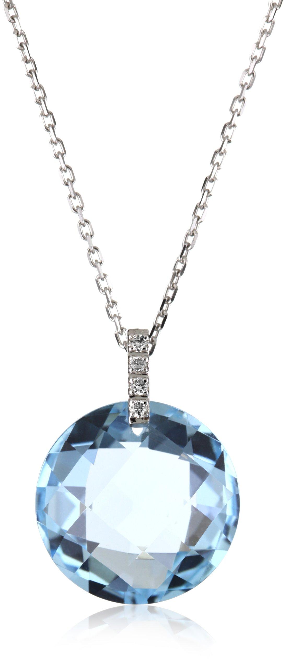 Suzanne Kalan The Classics Round Blue Topaz Diamond Loop Necklace