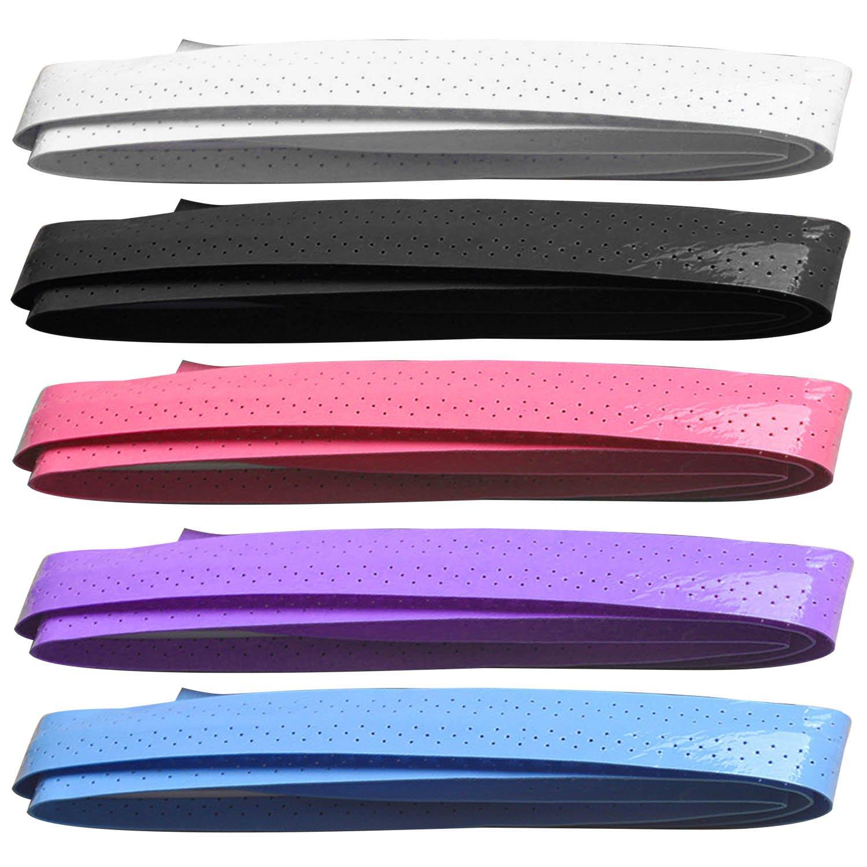 BEETEST 5 piezas cinta de apretón antideslizante perforado sudor absorbente tenis Squash Badminton raqueta Battledore Overgrip pesca Rod barra de la bici