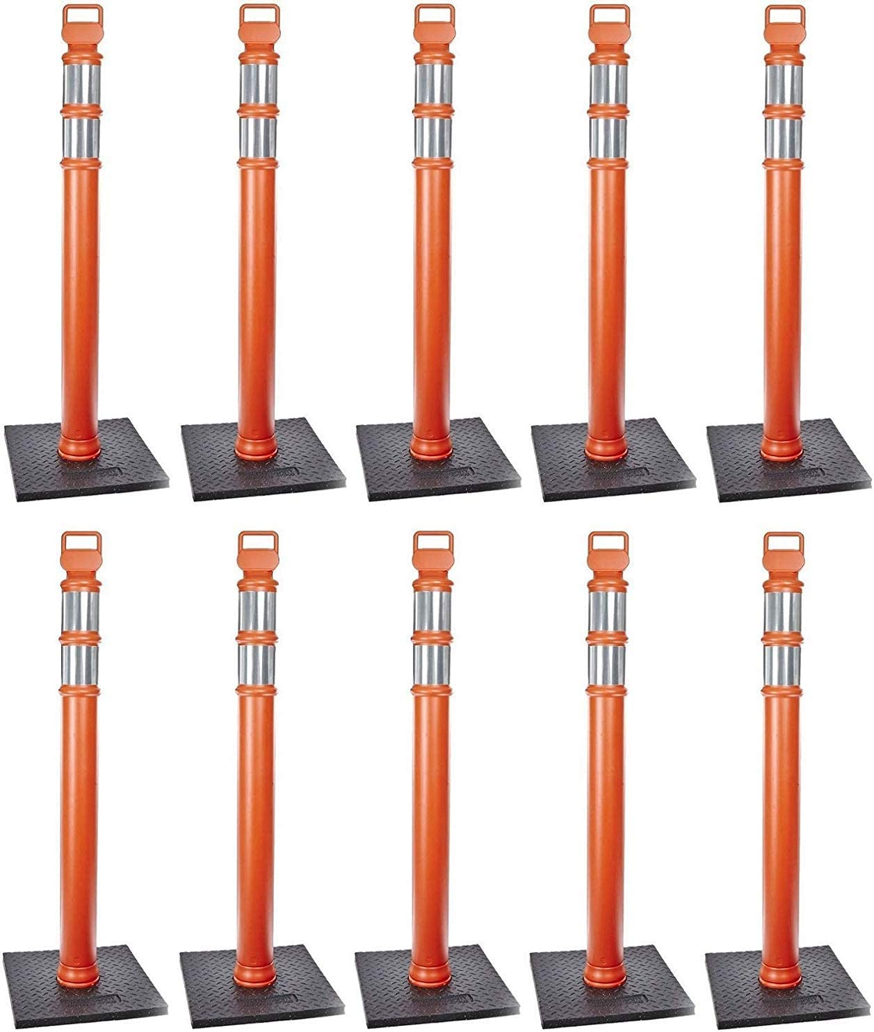 42 Height Cortina 03-747RBC Polyethylene Portable Delineator Post with 10 lbs Recycled Rubber Base Orange Pack of 3
