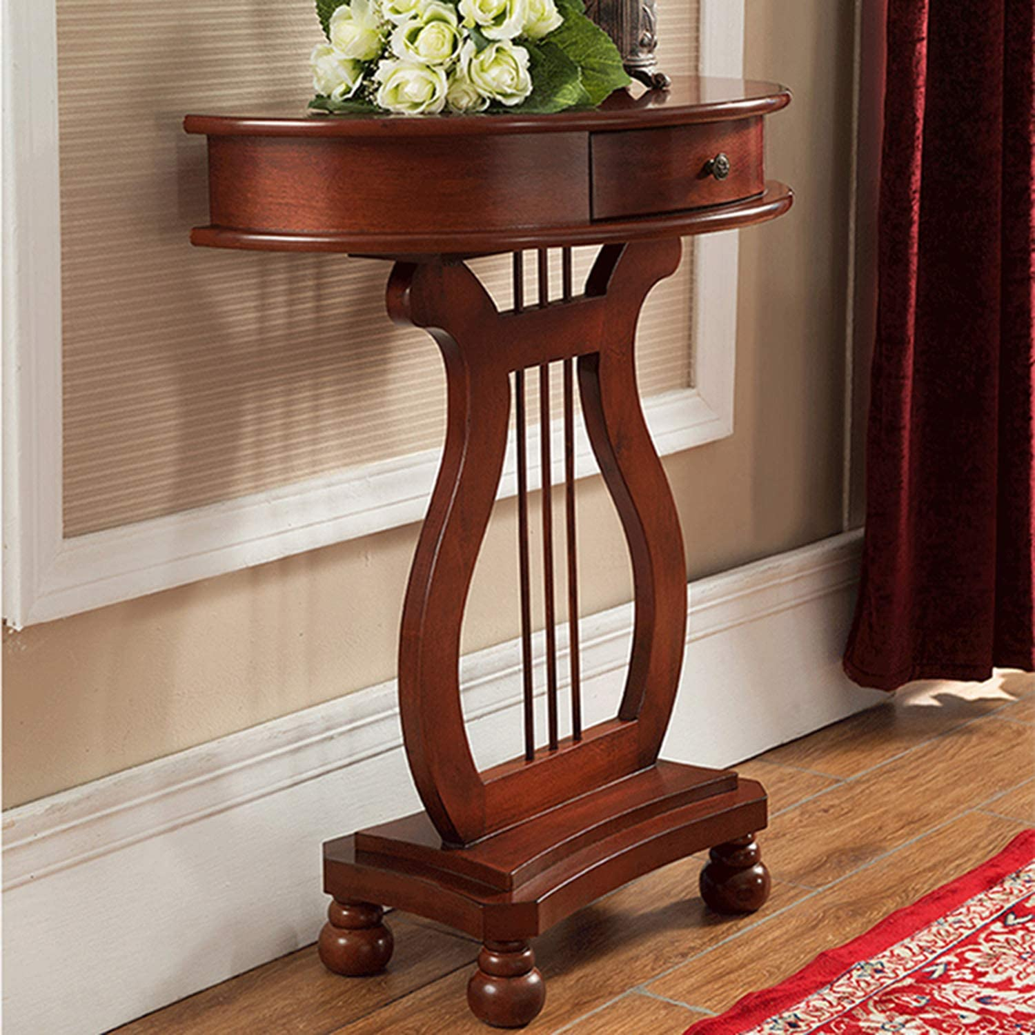 Entry Table with Curved Front and Inlay Shelf,Semi-Circle,Sofa Table,Shelves,Cabinet,Home Furnishing Finish End/Side Table