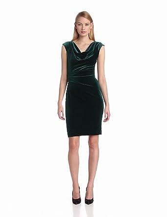 Vince Camuto Women's Cap Sleeve Fitted Asymmetrical Tuck Velvet Dress, Pineneedle, 2