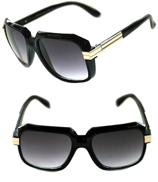 e04ab71e8a3 Men s Hip Hop 80 s Gazelle Vintage Retro Sunglasses 607 Grandmaster Retro  80 s (Black ...