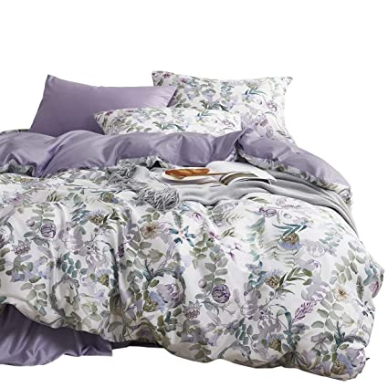 099381f05 Wake In Cloud - Floral Duvet Cover Set, Sateen Cotton Bedding, Watercolor  Botanical Flowers