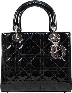 32eb6e1590c Christian Dior Lady Dior Black Patent Leather Cannage Medium Hand Bag