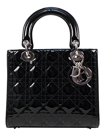 e07cf840f8 Amazon.com : Christian Dior Lady Dior Black Patent Leather Cannage Medium  Hand Bag : Baby