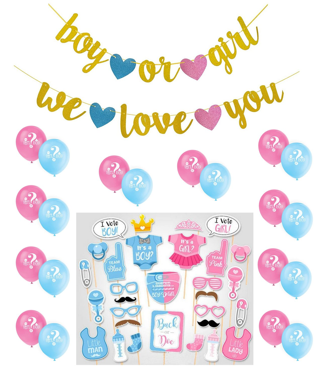 Gender Reveal Party Supplies Gold Glittery Boy or Girl We love you Banner Boy or Girl Photo Booth Props Balloons for Baby Shower Party
