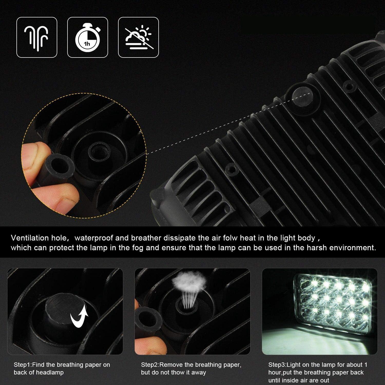Monland Phares LED 4X6 150W Phare 2 Pi/èCes Haut//Bas Scell/é Remplacement de Phare de Rectangle de Faisceau Scell/é pour Yj Cherokee Xj Camions 4X4 Toutes Terrains
