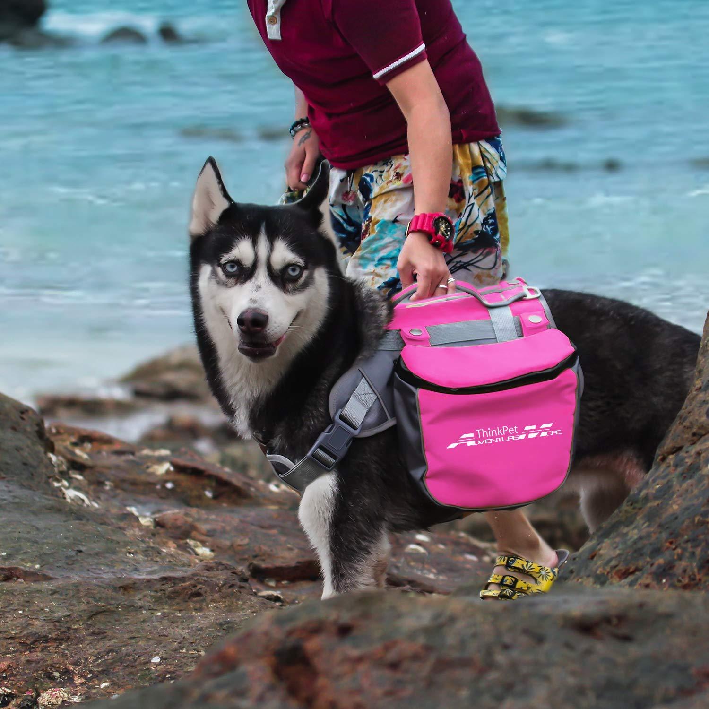 Dog Pack Double Bag for Hound Travel Rucksack for Medium Large Dogs ThinkPet Outdoor Dog Backpack Reflective Saddle Bag