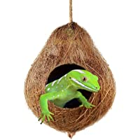 SunGrow Crested Gecko Coco Hut, 4.5-inches Round Coconut Shell with 2.5-inches Opening, Raw Coconut Husk, Durable and…