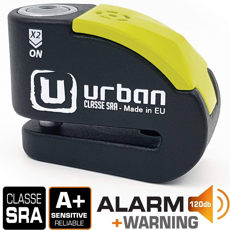 Urban Security UR10 Candado Antirrobo Moto Disco Alarma 120db, Avisador, A+, Doble Cierre ø10, homologado Sra, Negro/Amarillo, 10 mm