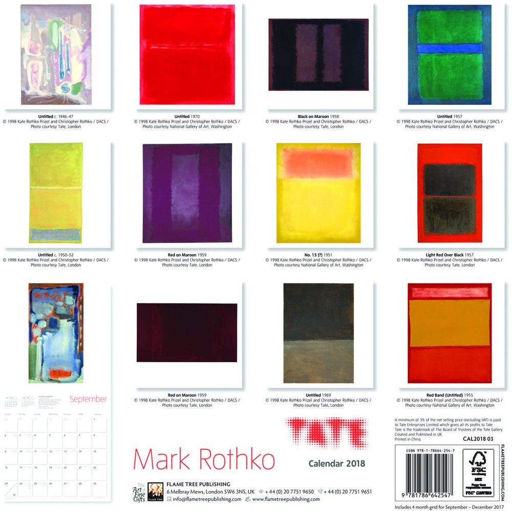 Art Calendar Mark Rothko Wall Calendar 2018 Tate
