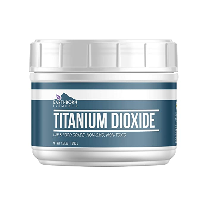 Titanium Dioxide, (20 oz) by Earthborn Elements, a Naturally Occurring Mineral Used for Whitening and Pigmentation in Food, Paint, Cosmetics, Sunscreen & More, Convenient Resealable Tub