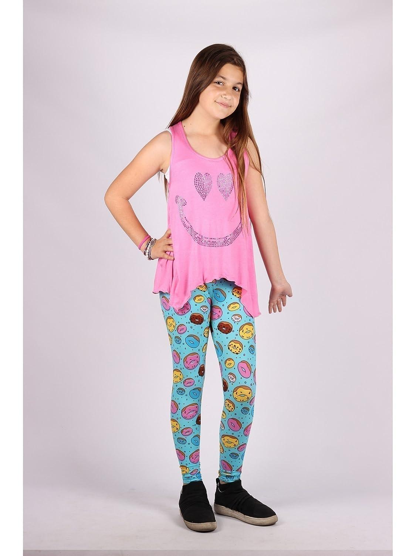 Lori /& Jane Big Girls Pink Smile Studs Tank Doughnuts Leggings Outfit Set 6-14