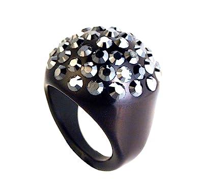 81ed6ddd3 adreani- Women's Ring with Domed Pave Swarovski Large Crystal 09 (Jet  Hematite on Black, 8): Amazon.co.uk: Jewellery