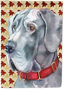 Caroline's Treasures LH9556GF Great Dane Fall Leaves Flag Garden Size, Small, Multicolor