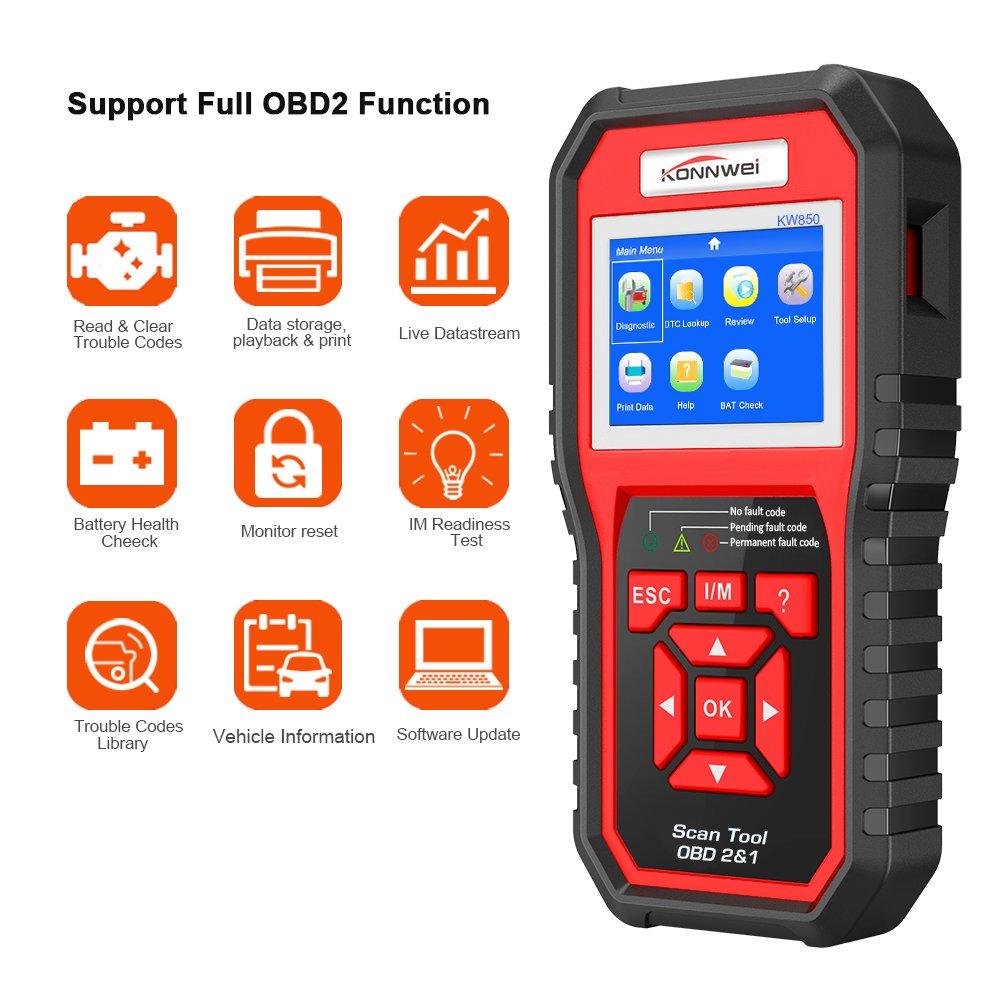 Diagnóstico OBDII KONNWEI KW850 OBD2/EOBD/CAN Herramienta Diagnóstico Motor Lector Código Auto para Leer & Borrar los Códigos de Falla del Motor Apague la ...