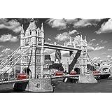 (24x36) London Tower Bridge Buses Art Print Poster