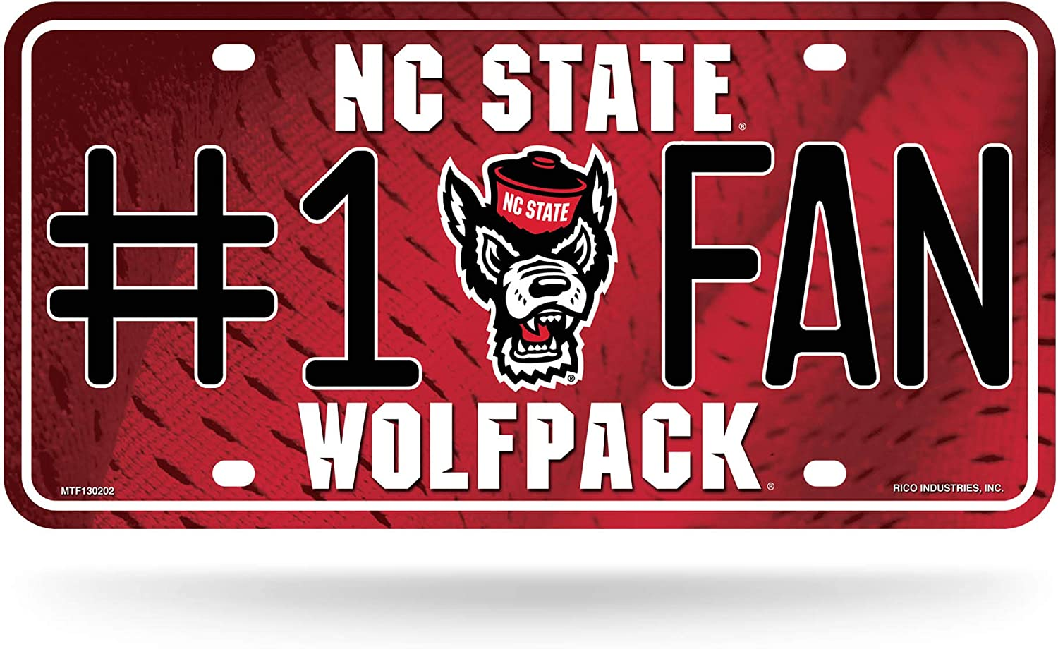 NCAA Rico Industries  #1 Fan Metal License Plate Tag North Carolina State Wolfpack
