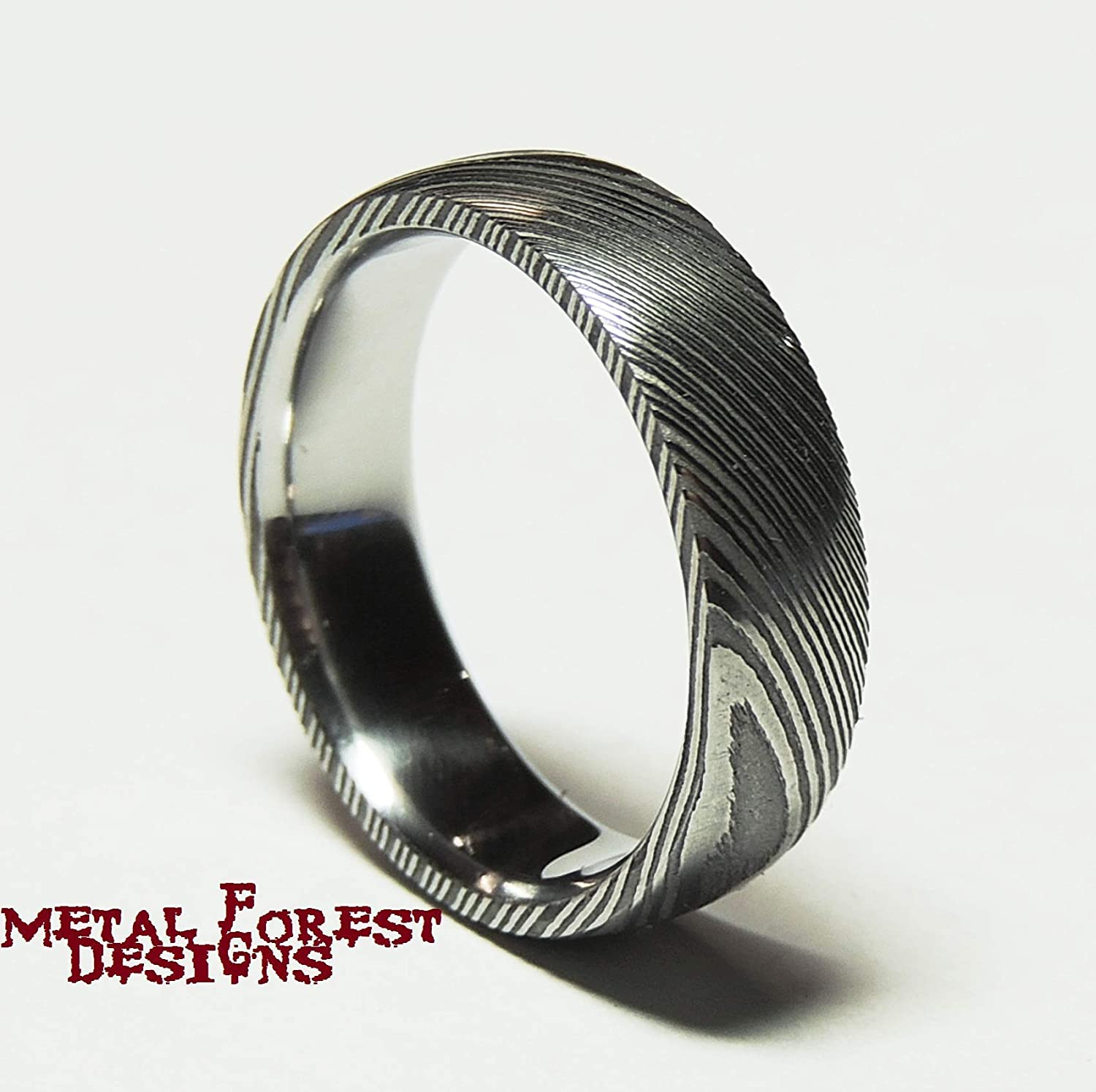 8a7d3c86fc164 Amazon.com: Stainless Damascus Steel Ring with Polished Inside ...