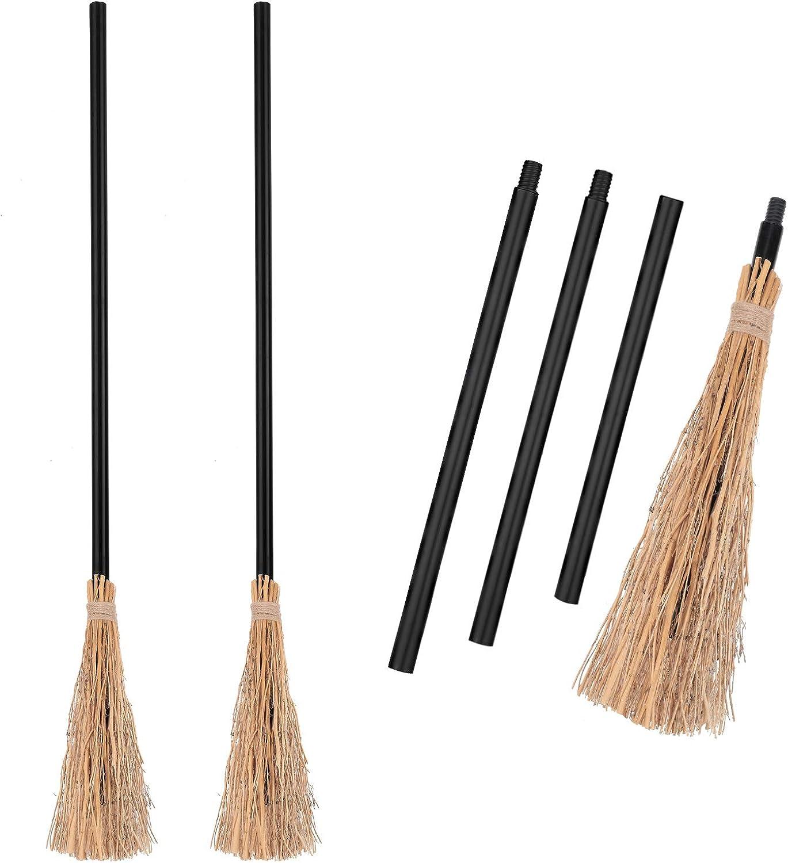 5 Pieces Halloween Witch Broom Plastic Broom Props Cosplay Broomstick for Halloween Costume Party Supplies