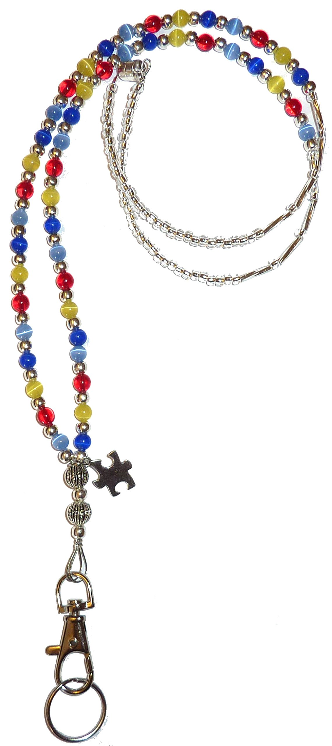 Autism Awareness beaded Lanyard, Fashion Women's lanyard 34'' (Autism Colors - Magnetic Breakaway)