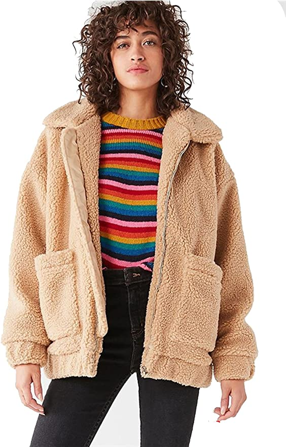 kooosin Fluffy Women Coats Faux Wool Blend Warm Winter Jacket Zip Up Long Sleeve Oversized Fashion Outerwear