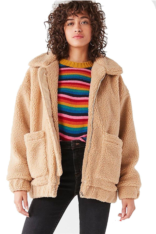 Kooosin Women's Warm Fluffy Long Sleeve Faux Shearling Zip Fastening Winter Coat Plus Size (DK070-L, Camel)