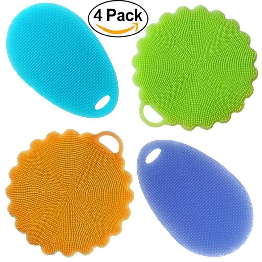 Lavany Scrubber Sponges Cleaning Dishwashing Silicon Mildew-Free Sponge (Pack of 4) (A)