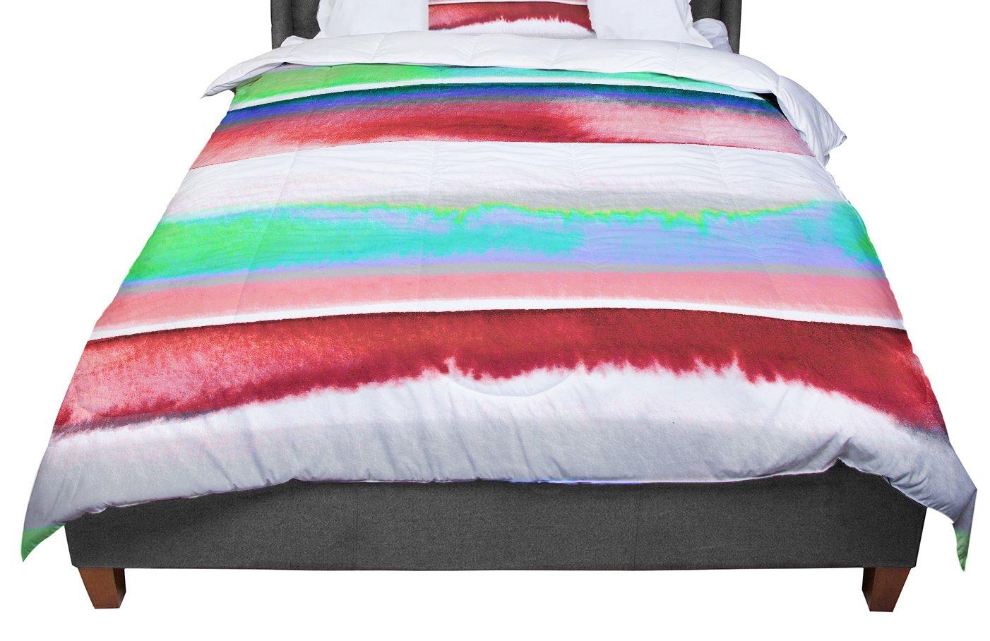 KESS InHouse Ebi Emporium 'Prism Stripe 2' Red Blue King / Cal King Comforter, 104' X 88'