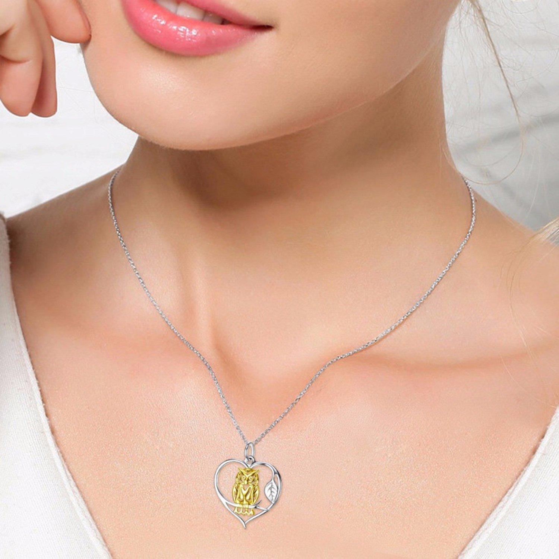 CS-DB Gold Color Night OWL Bird Top Stylish Heart Shape Silver Necklaces Pendants
