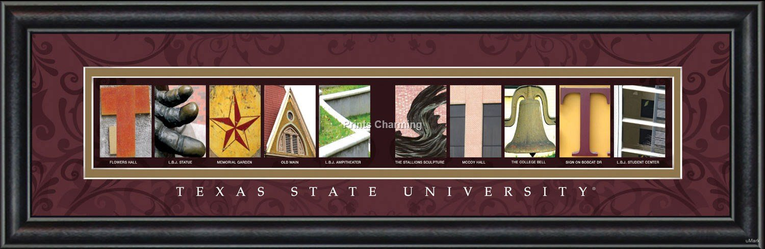 Prints Charming Letter Art Framed Print, Texas State University-Texas State, Bold Color Border