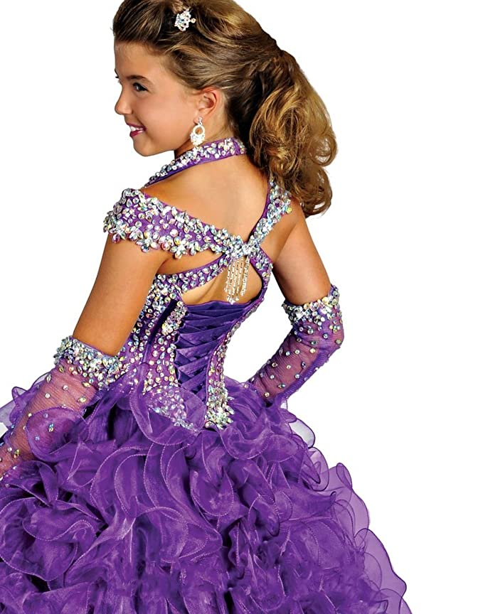 Amazon.com: Yc Girls Halter Chest Full Crystal Ball Gown Floor ...
