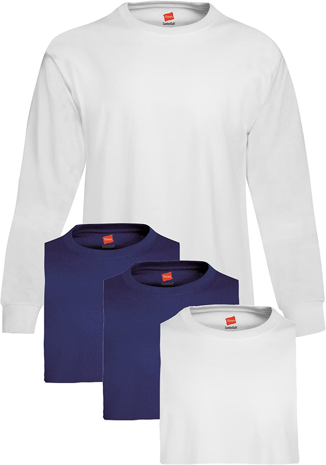 Hanes Men's 4 Pack Long Sleeve T-Shirt, 2 White/2 Navy