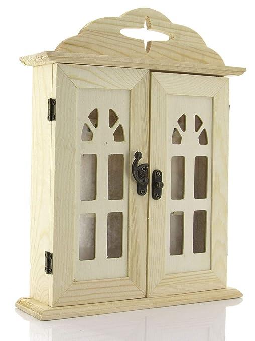 caja llavero de madera de pared, caja llavero de pared, Armario llavero para entradas, 21.5 x 27 x 5.5 cm