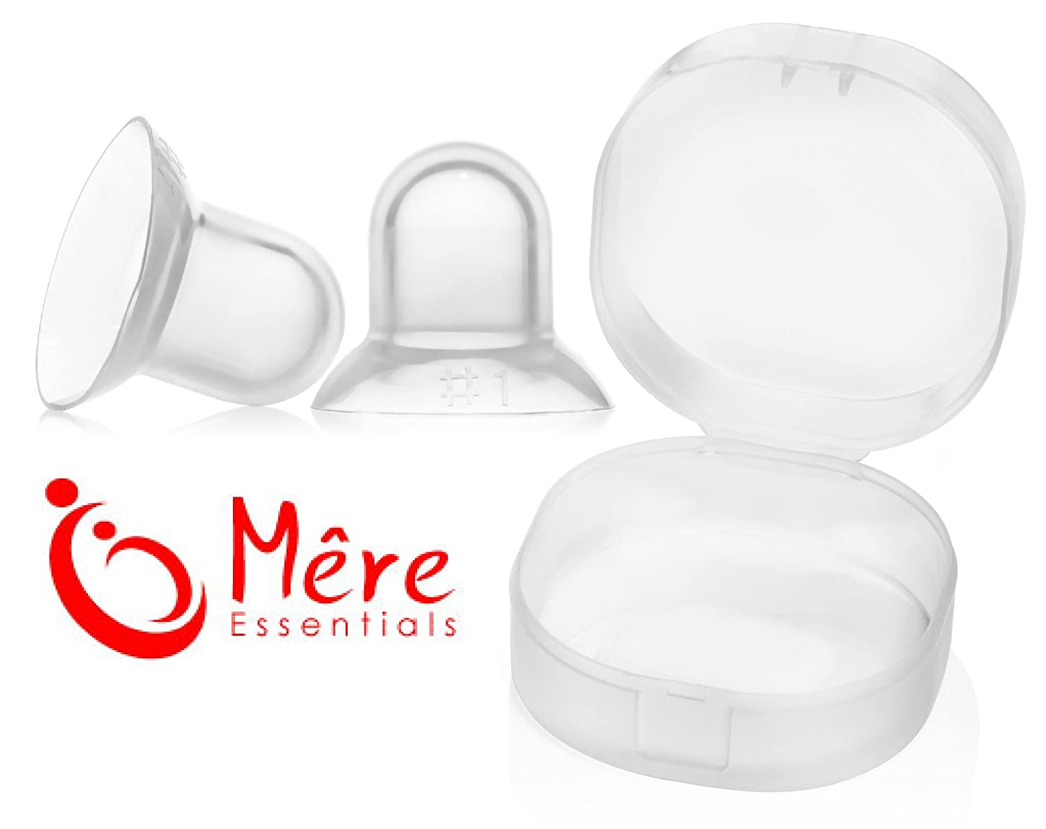 Mere Essentials Nipple Supplets Breast Feeding Aid for Flat, Inverted Nipples with Storage Case (Pair) (Large) Mêre Essentials