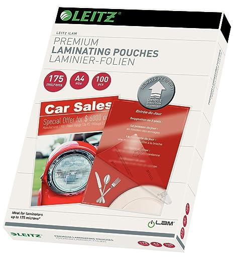 Amazon.com: Leitz 74830000 - Bolsas para plastificar (175 ...