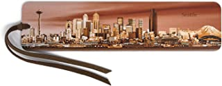 product image for Seattle Panoramic Skyline - Color Wooden Bookmark with Suede Tassel - Also Available Personalized