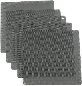 RuiLing 5-Pack PVC Computer Fan Dust Filter Net Dustproof Cover Guard Black PC Cooler Fan Mesh Case 14cm