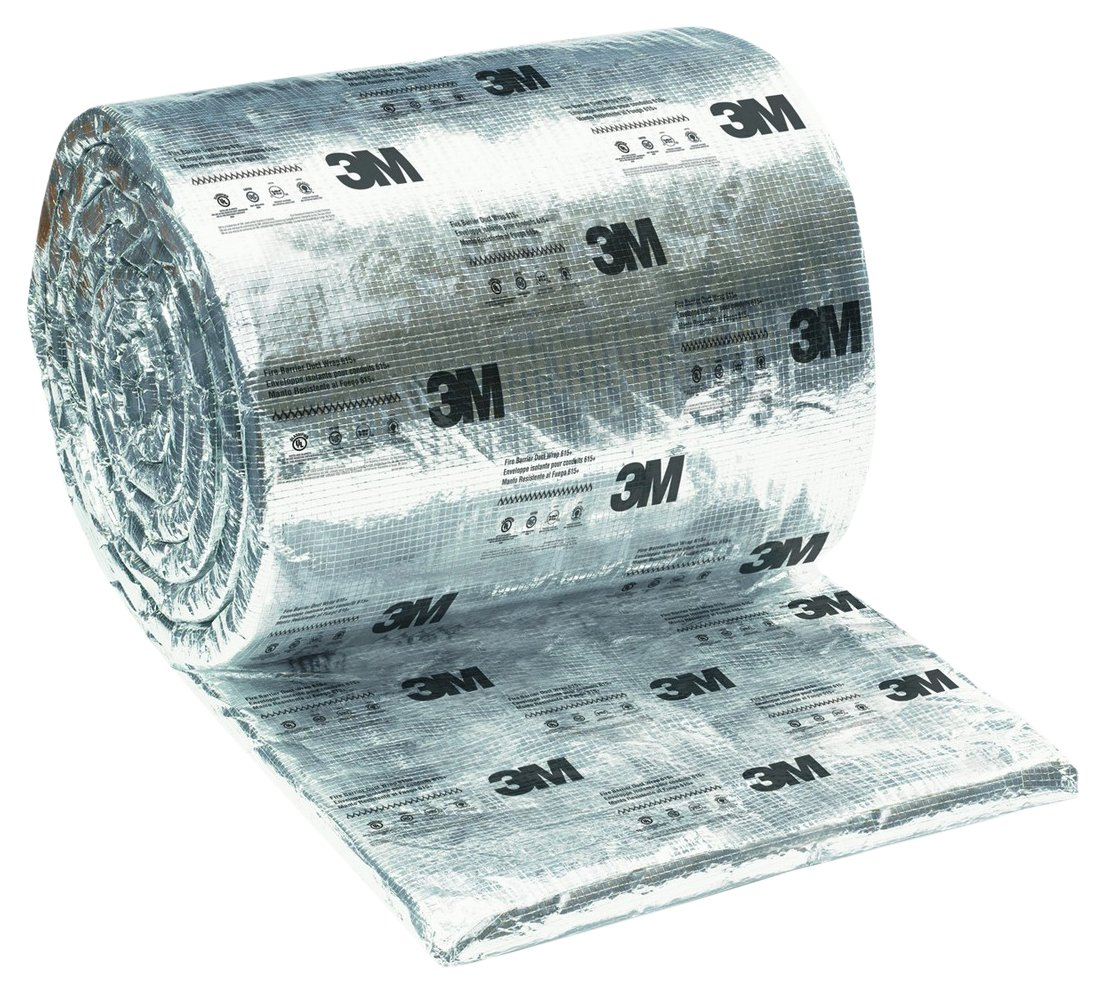 3M 54906 Silver Fire Barrier Duct Wrap (615+), 48'' Width, 25' Length