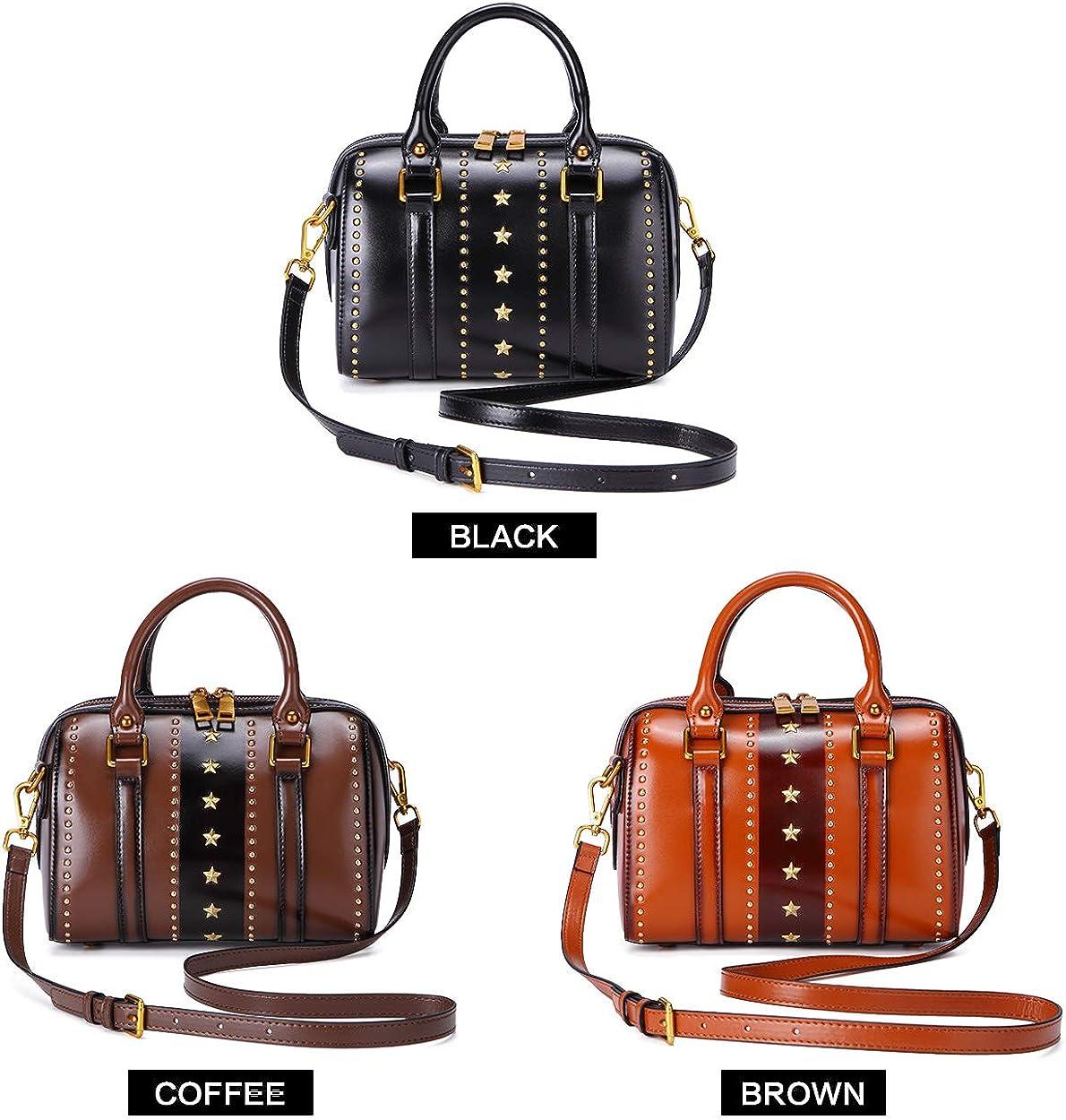 Real Leather Handbag for Women Vintage Top Handle Bag Stylish Rivet Crossbody Bag