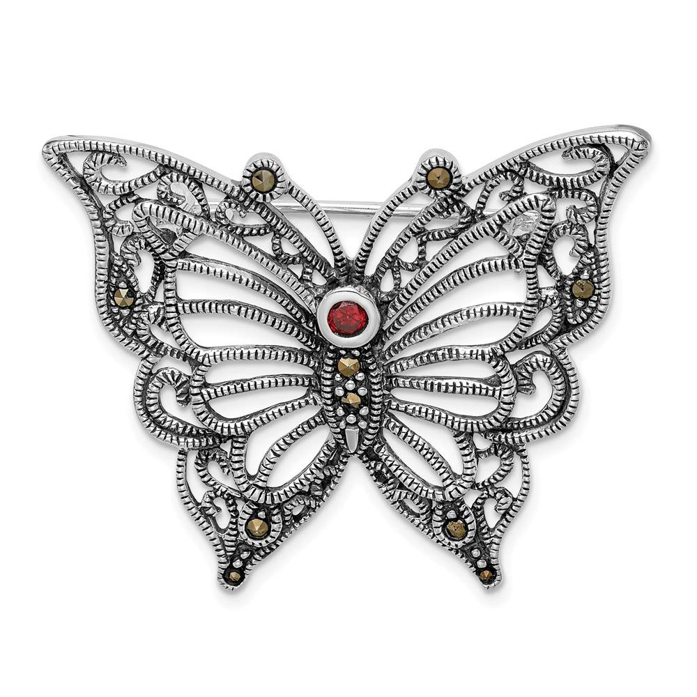 925 Sterling Silver Marcasite Red Cubic Zirconia Butterfly Pin